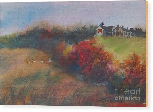 Farm On The Hill At Sunset Wood Print