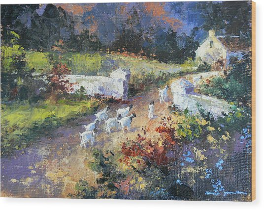 Farm Scene With Goats I Wood Print