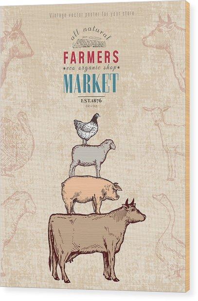 Farm Shop Vintage Poster Retro Butcher Wood Print