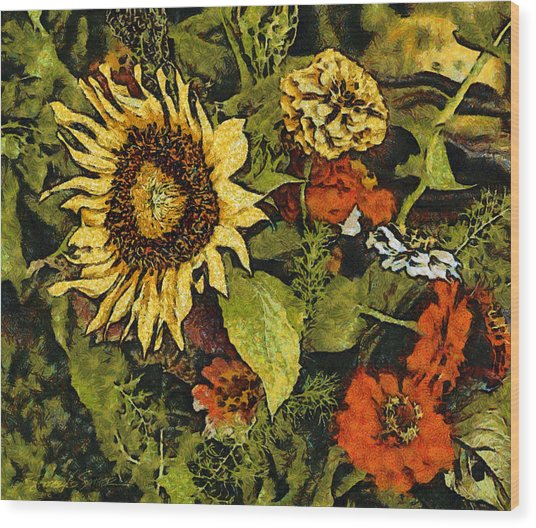 Farmers Market Sunflower Wood Print