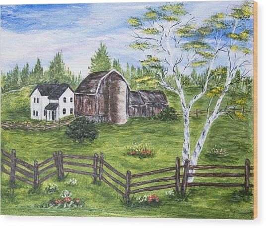 Farmhouse And Barns Wood Print by Carole F Perrine