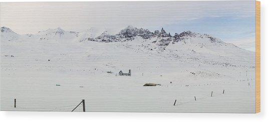 Farmhouse In Iceland Wood Print by Birgir Freyr Birgisson
