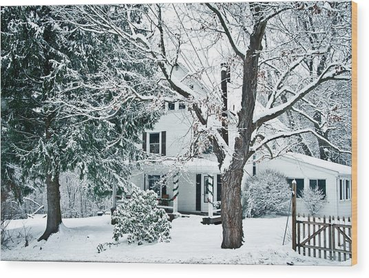 Farmhouse In Snow Wood Print by Nickaleen Neff