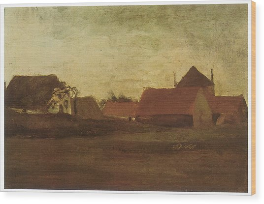 Farmhouses In Loosduinen Near The Hague At Twilight Wood Print by Vincent van Gogh