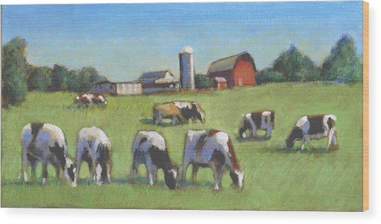 Farming In The Dell Wood Print by David Zimmerman