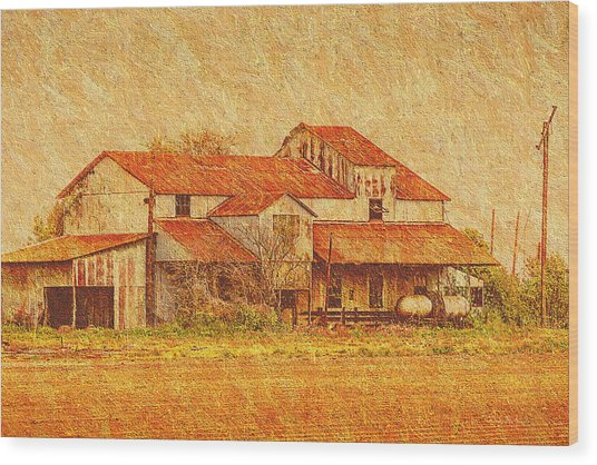 Farm - Barn - Farming The Delta Wood Print by Barry Jones