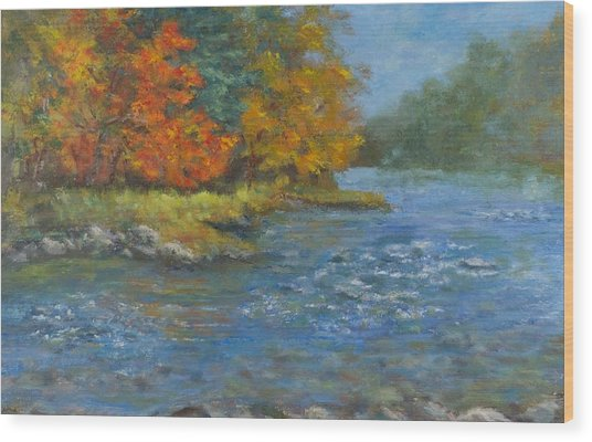 Farmington River Fall Wood Print