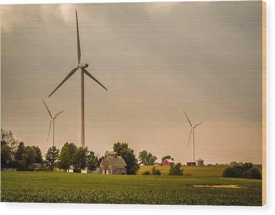 Farms And Windmills Wood Print