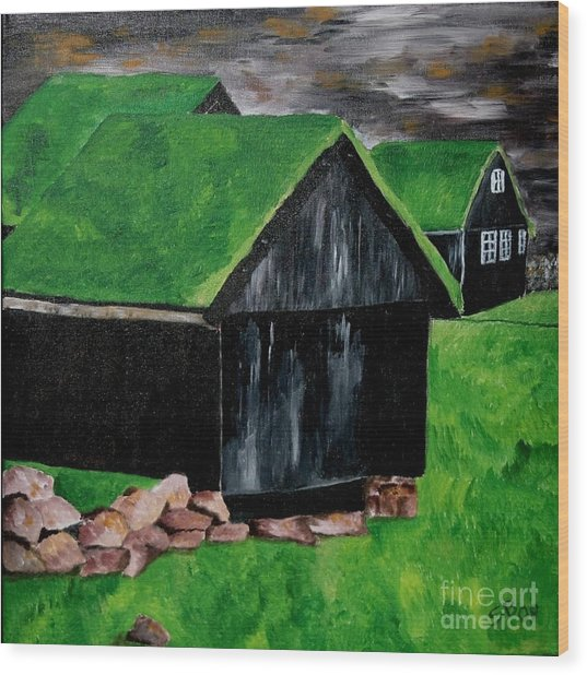 Faroe Houses Wood Print