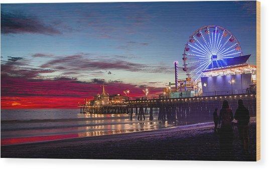Ferris Wheel On The Santa Monica California Pier At Sunset Fine Art Photography Print Wood Print