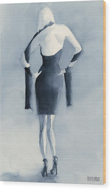 Fashion Illustration Art Print Woman In Blue Dress Back Wood Print by Beverly Brown
