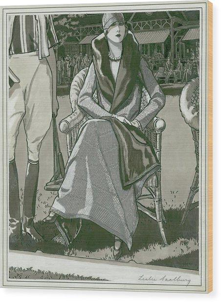 Fashion Illustration Of A Woman Wood Print by Leslie Saalburg
