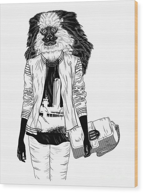 Fashion Monkey With Bag For Poster Or Wood Print