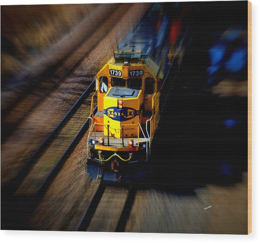 Fast Moving Train Wood Print