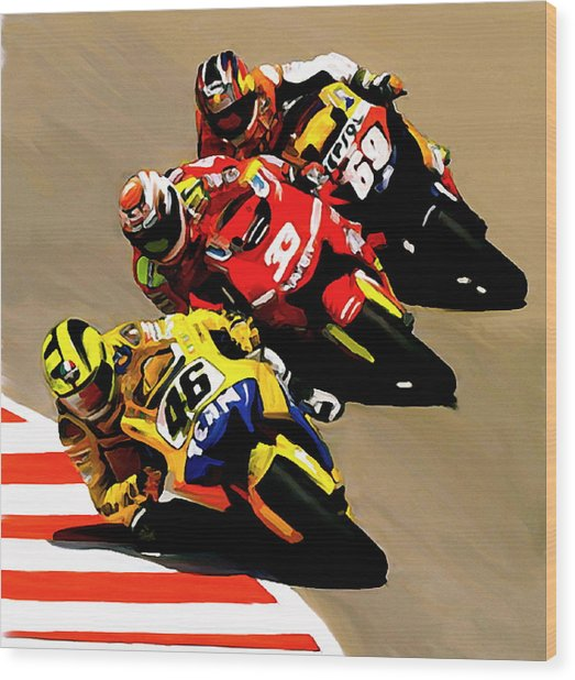 Faster  Valentino Rossi Nicky Hayden Wood Print