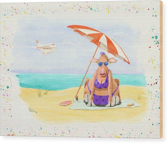 Fat Cow On A Beach 1 Wood Print