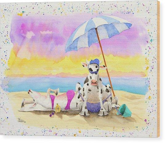 Fat Cows On A Beach 2 Wood Print