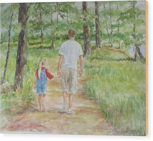 Father And Daughter Walk Wood Print