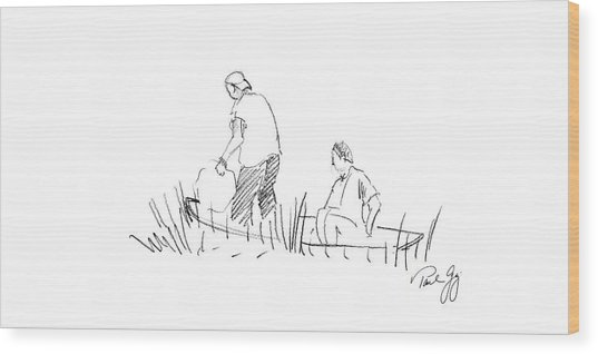 Father And Son Netting Bait Bayou La Batre Alabama Wood Print
