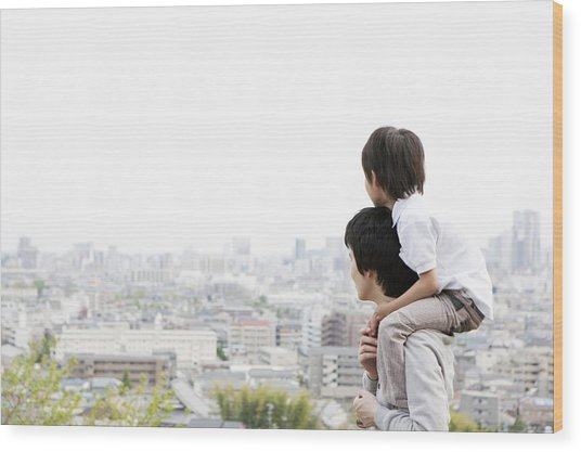 Father And Son On A Hill Wood Print by Kohei Hara