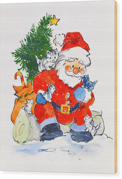 Father Christmas And Kittens, 1996  Wood Print