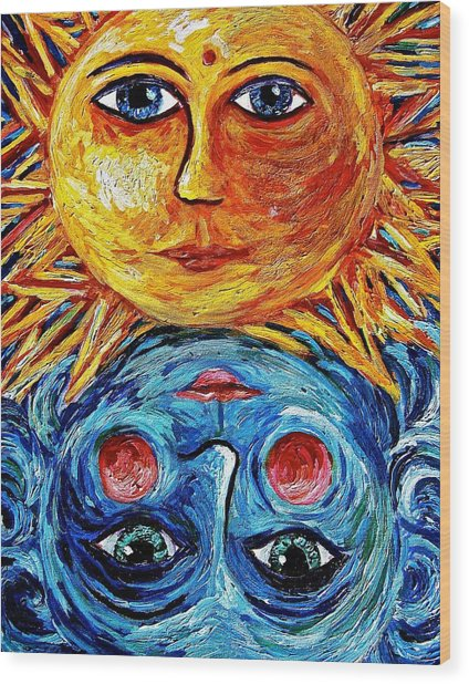Father Sun And Mother Moon Wood Print by Sebastian Pierre