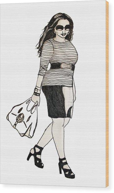 Fatshionista #1 Wood Print by Micaela Shambee