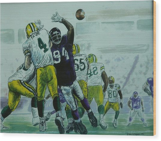 Favre Vs The Vikes Wood Print