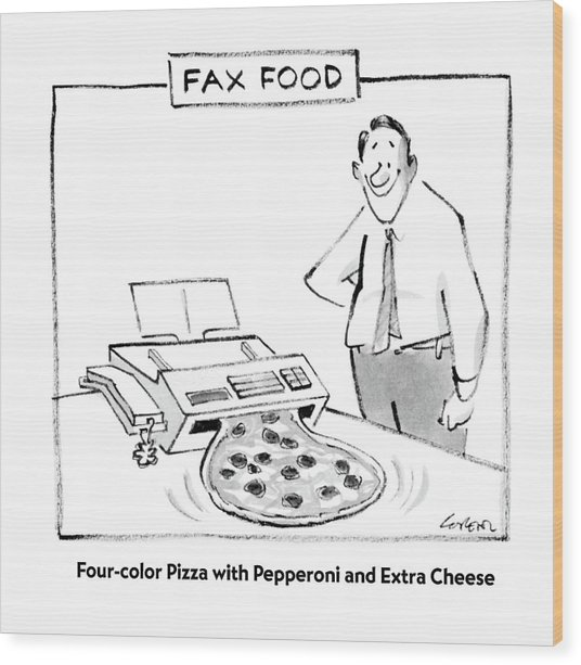 Fax Food 'four-color Pizza With Pepperoni Wood Print