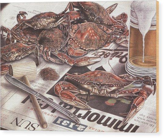 Feast On The Chesapeake Wood Print by Jonathan W Brown