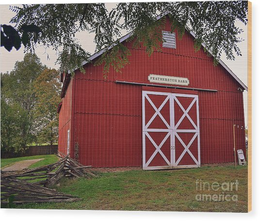 Featherstone Red Barn Wood Print