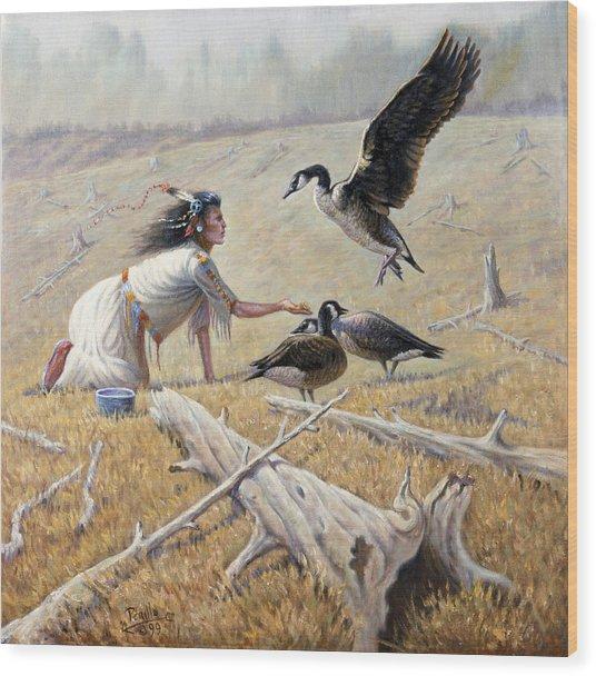 Feeding The Canadian Geese Wood Print