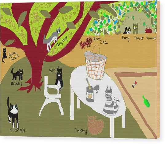 Feeding The Cats At The Park Wood Print