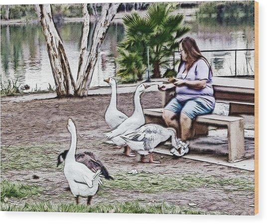 Feeding The Geese Wood Print
