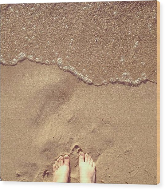 Feet On The Beach Wood Print