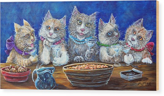 Felines After Five Wood Print