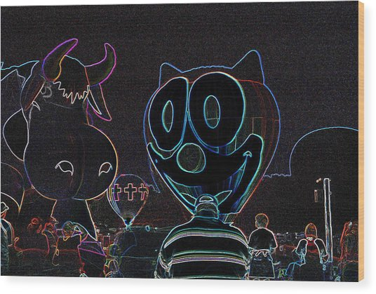 Felix And The Cow In Neon Wood Print