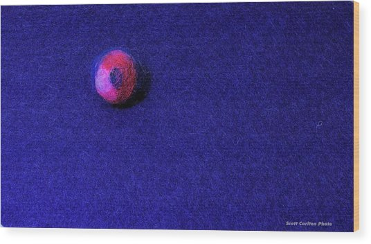 Felt Ball On Blue Felt Wood Print