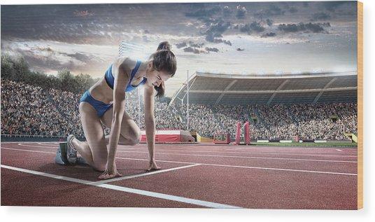 Female Athlete Prepares To Run Wood Print by Dmytro Aksonov