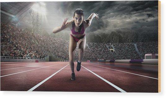 Female Athlete Sprinting Wood Print by Dmytro Aksonov