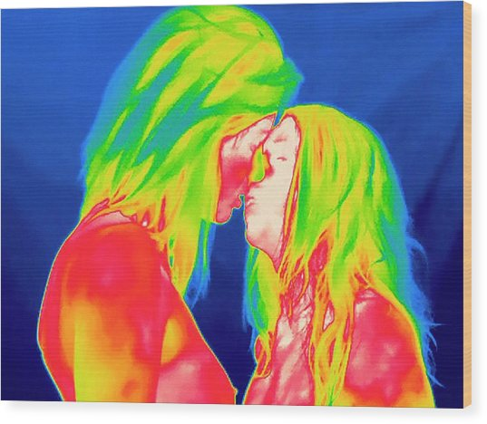 Female Couple Kissing Wood Print
