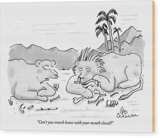 Female Lion Chastising Her Husband Wood Print