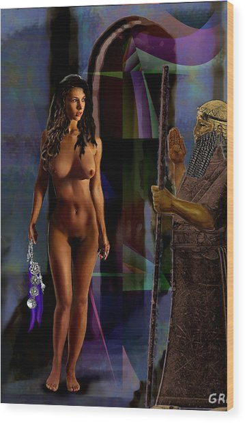Female Nude Digital Fine Art Jean Inanna 7th Gate Wood Print