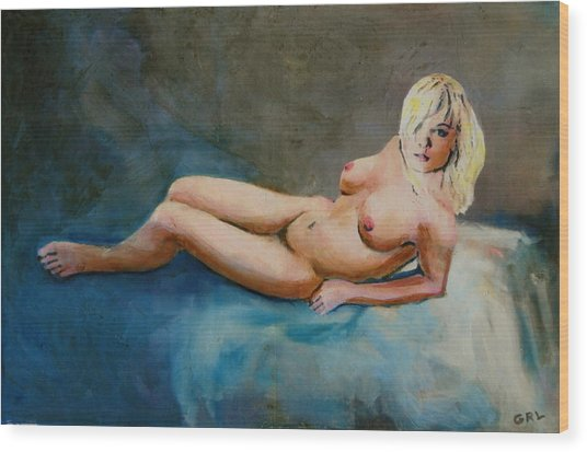 Female Nude Nikie Reclining With Blue Wood Print by G Linsenmayer