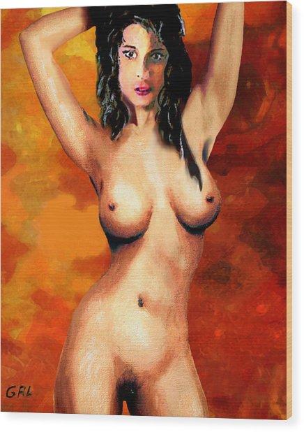 Female Nude Torso Detail Original Fine Art Painting Wood Print by G Linsenmayer