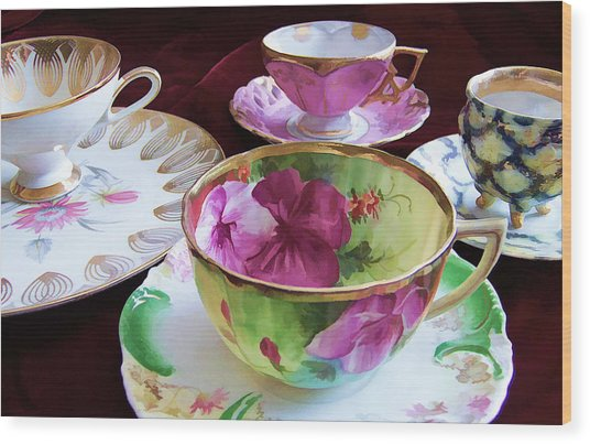 Feminine High Society Ladies Tea Party Wood Print