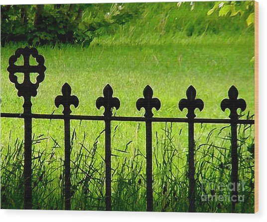 Fence And Cross Wood Print