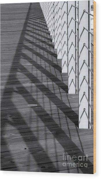 Fence And Shadows Wood Print
