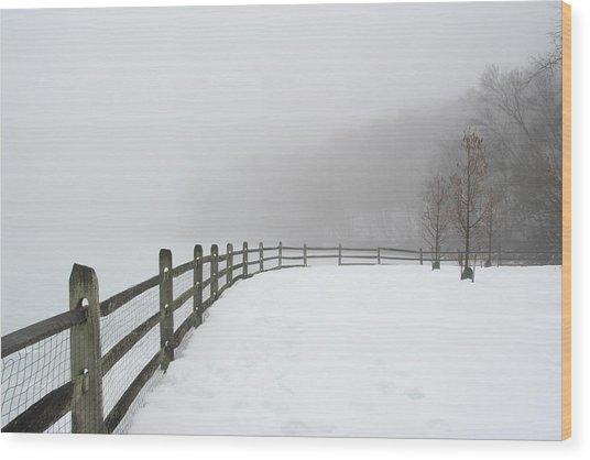 Fence In Fog Wood Print