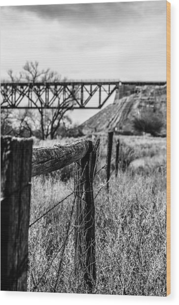 Fence Line Wood Print